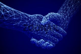Information technology in business, digital deal or online commerce: digital handshake.
