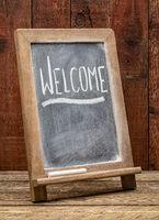 Welcome blackboard sign