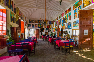 typical historic restaurant in the city of Santa Fe of Antioquia Colombia