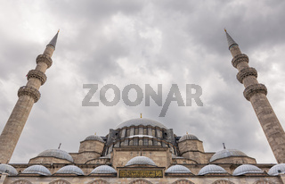 Exterior low angle day shot of domes Suleymaniye Mosque, Istanbul, Turkey