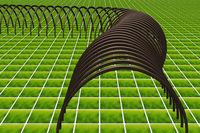 Lattice tunnel on floor tile, 3d illustration