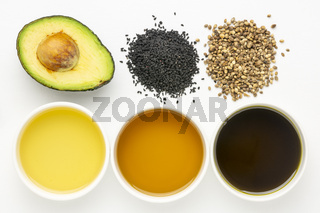 avocado, black seeds and hemp oils