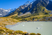 Hooker lake in Aoraki Mount Cook, New Zealand