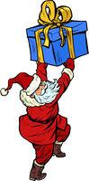 Santa Claus with Christmas gift box