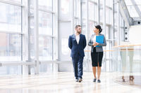 Business people walk together