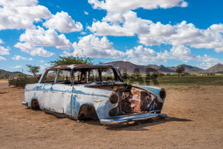 Abandoned car in the Namib Desert, Solitaire, Namibia