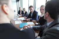 Business team working at meeting table