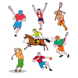 Sports Mascot Cartoon Set
