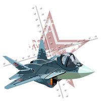 Cartoon modern military fighter plane on grunge background