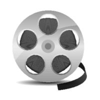 Film reel with cinema tape icon isolated