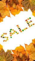 Autumn maple-leafs background with word SALE