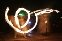Long exposure fire show