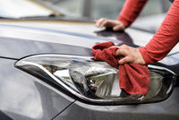 polishing a car after the car wash
