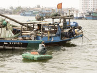 December 26, 2013 - Da Nang, Vietnam: Fishermen On Their Wooden Fishing Boat