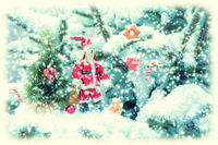 Beautiful fir tree covered snow, bunny santa doll, candy cane, cookies, closeup. Winter Holiday Christmas fiction greeting card background, copy space. Soft vintage toned