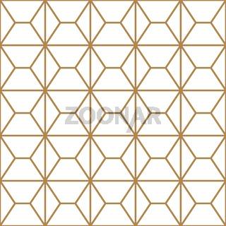 Seamless geometric pattern in golden and white.Japanese style Kumiko.