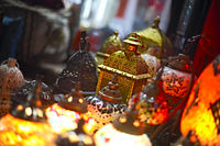 Glass and metal lanterns