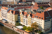 Aerial view on historic city district (Nikolaiviertel) in Berlin, Germany
