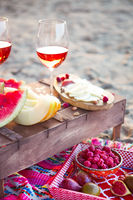 Outdoor picnic  with rose wine