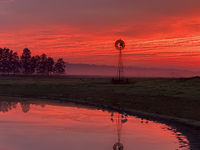 Light morning fog, windmill, pond with red sunrise sky in rural countryside