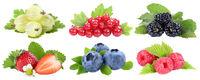 Sammlung Beeren Erdbeeren Blaubeeren Himbeeren rote Johannisbeeren Früchte isoliert Freisteller freigestellt
