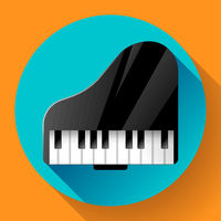 Piano icon - a symbol of classical music. Chamber music concert.