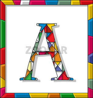 Letter A in stained glass
