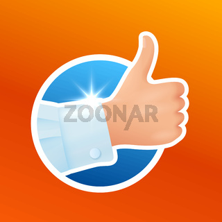 Washing clothes sticker, clean white shirt, hand show thumbs up gesture, like, good laundry detergent result, satisfied client, vector illustration isolated