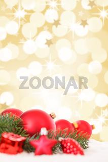 Weihnachten rote Weihnachtskugeln Weihnachtsdeko Weihnachtsdekoration Gold Dekoration Sterne Hochformat Textfreiraum Copyspace
