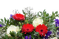 A bunch of colorful spring flowers isolated on white background