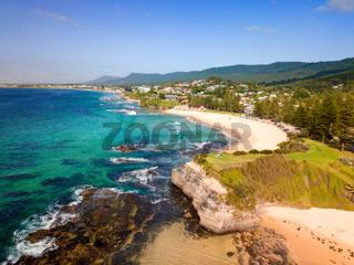 Coastal beach scene views to Austinmer beach