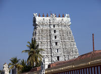 White color ornate Hindu temple in the Kanyakumari