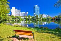 Kaiserwasser lake park and Vienna international centre bussines district view