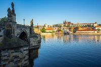 Charles Bridge with Prague city skyline in Prague, Czech Republic