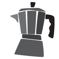 moka coffee maker ready for a coffee, vintage style food illustration
