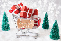 Trolly With Christmas Gifts And Snow, Text Goodbye 2018