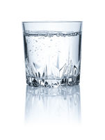 A glass of water on a white backgound