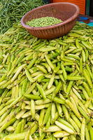 Bogota green beans on display of general market of Corabastos