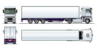 Vector cargo semi truck template isolated on white