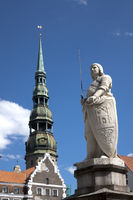 Monument to St. Roland in the central square in Riga