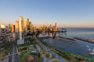 Sunset on Panama city Balboa Avenue and Punta Paitilla