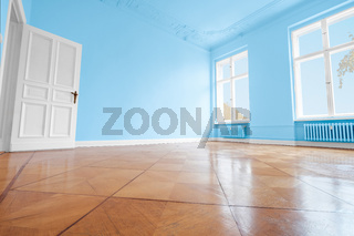 blue painted room, apartment renovation with colorful walls  -
