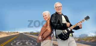 senior couple with electric guitar over route 66