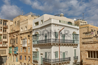 Traditional colorful and modern architecture and houses in Valletta in Malta