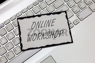 Writing note showing  Online Workshop. Business photo showcasing shows of goods and commodities over the electronic websites