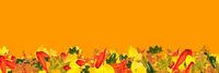 Panorama Banner mit vielen bunten Herbst Blättern