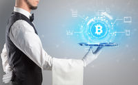 Waiter serving cryptocurrency concept