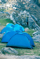 tents camp in highest mountain system of Earth.