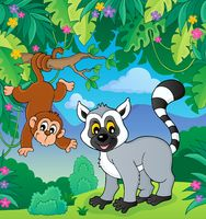 Lemur and monkey in jungle image 1