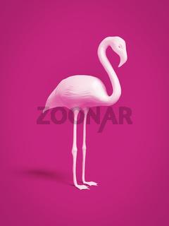 white flamingo on pink background